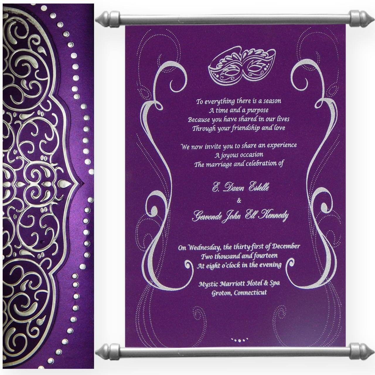 SCROLL WEDDING CARDS T1-518 Full View