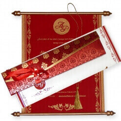 Scroll Wedding Cards T1-520 Full View