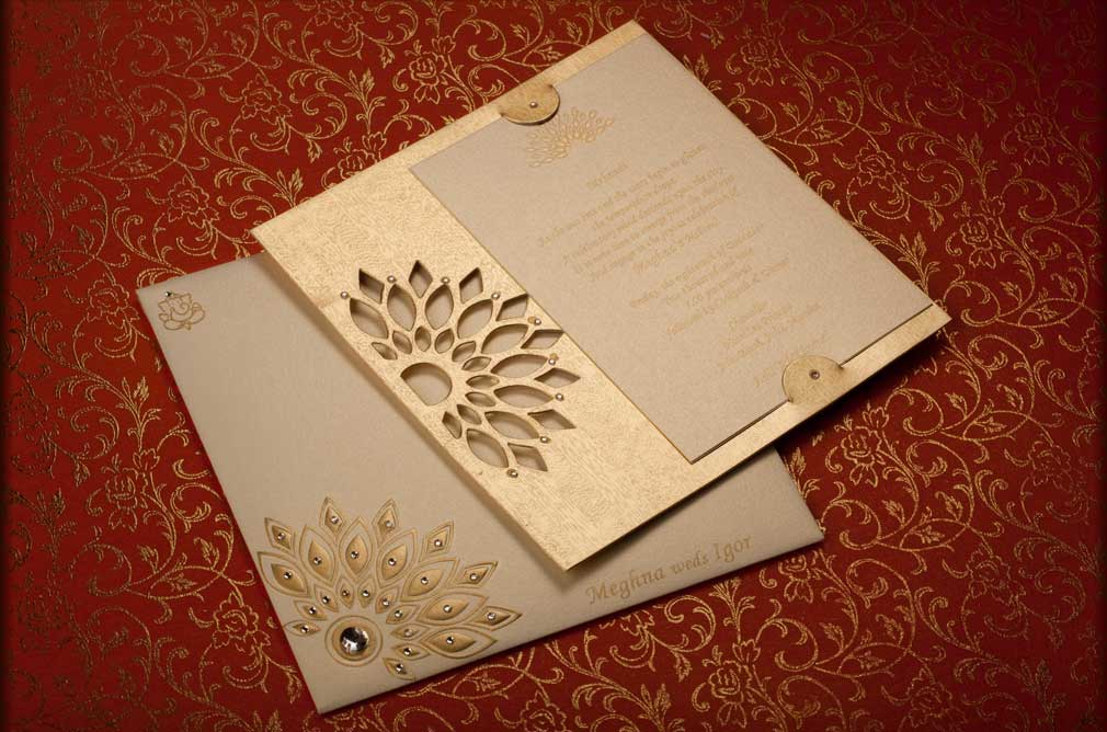 Stylish Indian Wedding Card with Silk Handmade Paper