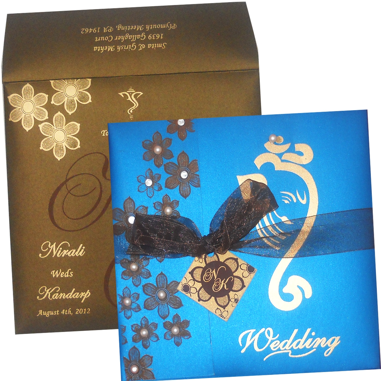 Stylish Design And Matching Ribbon A Fabulous Indian Wedding Card