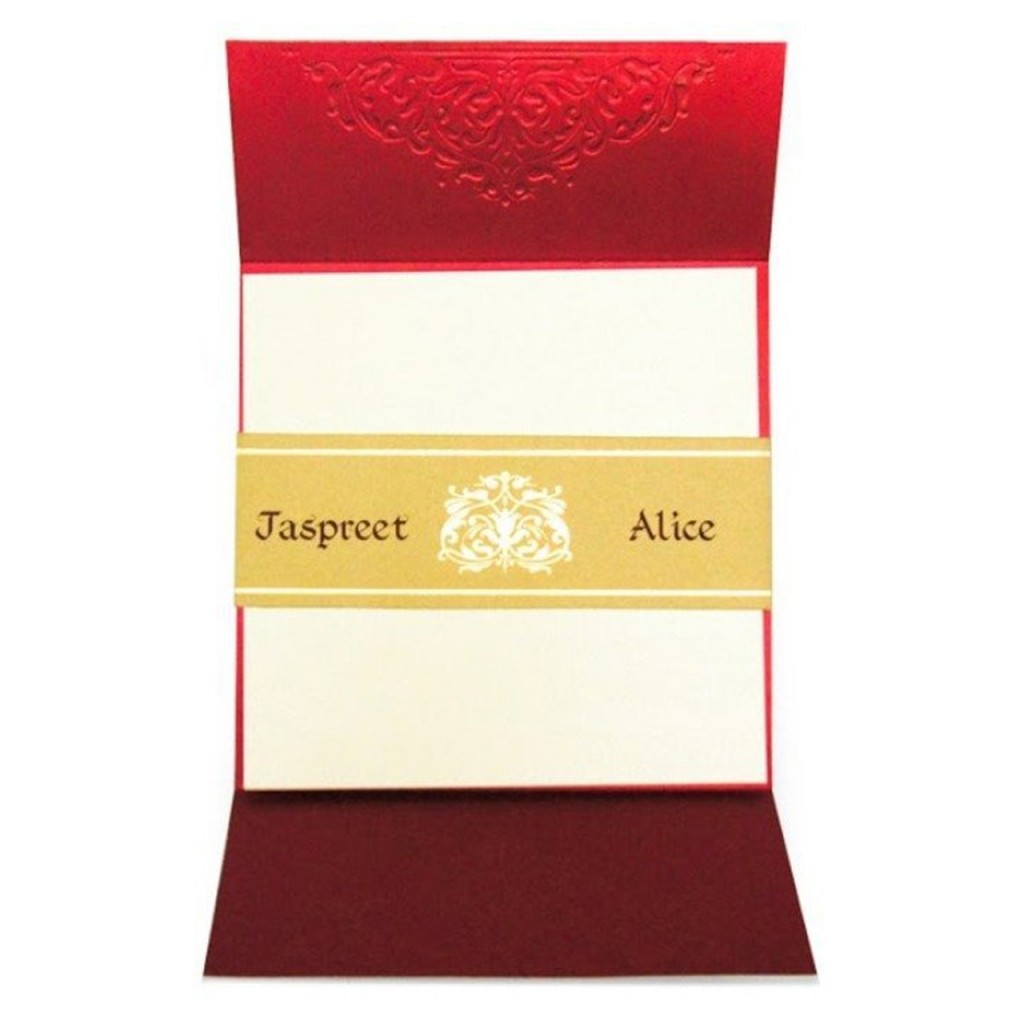 Traditional Indian Wedding Card With Gold Foil Printing