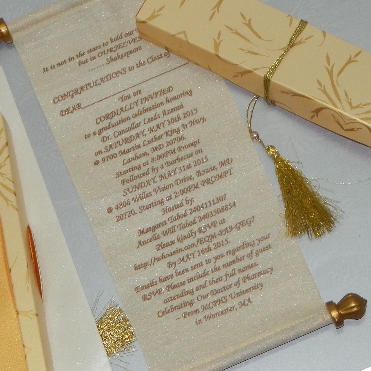 gold color printed beautiful indian scroll wedding card