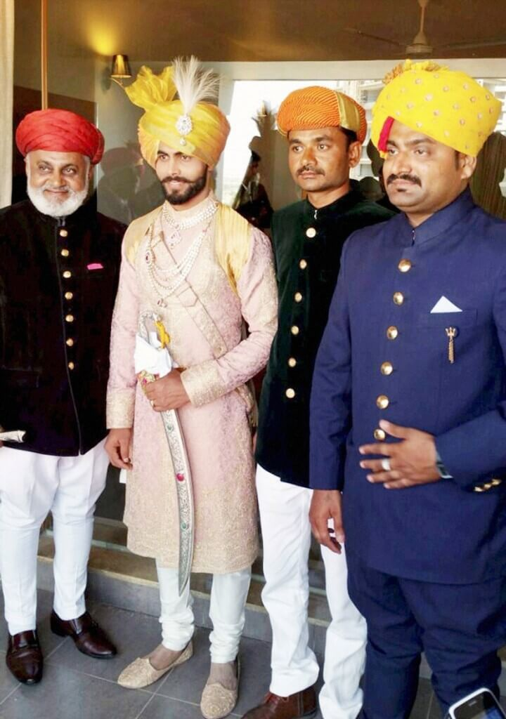 Rajkot: Indian cricketer Ravindra Jadeja with his relatives  during his wedding ceremony in Rajkot on Sunday. PTI Photo(PTI4_17_2016_000200B)