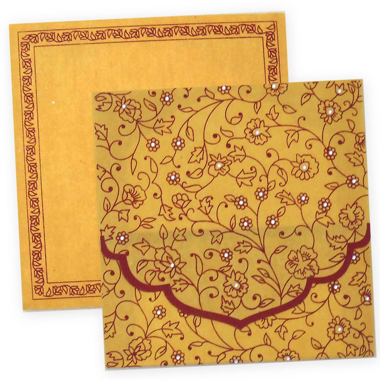 Exclusive Hindu Wedding Invitation Card With Wooly Fabric Paper And Maroon Color Printing