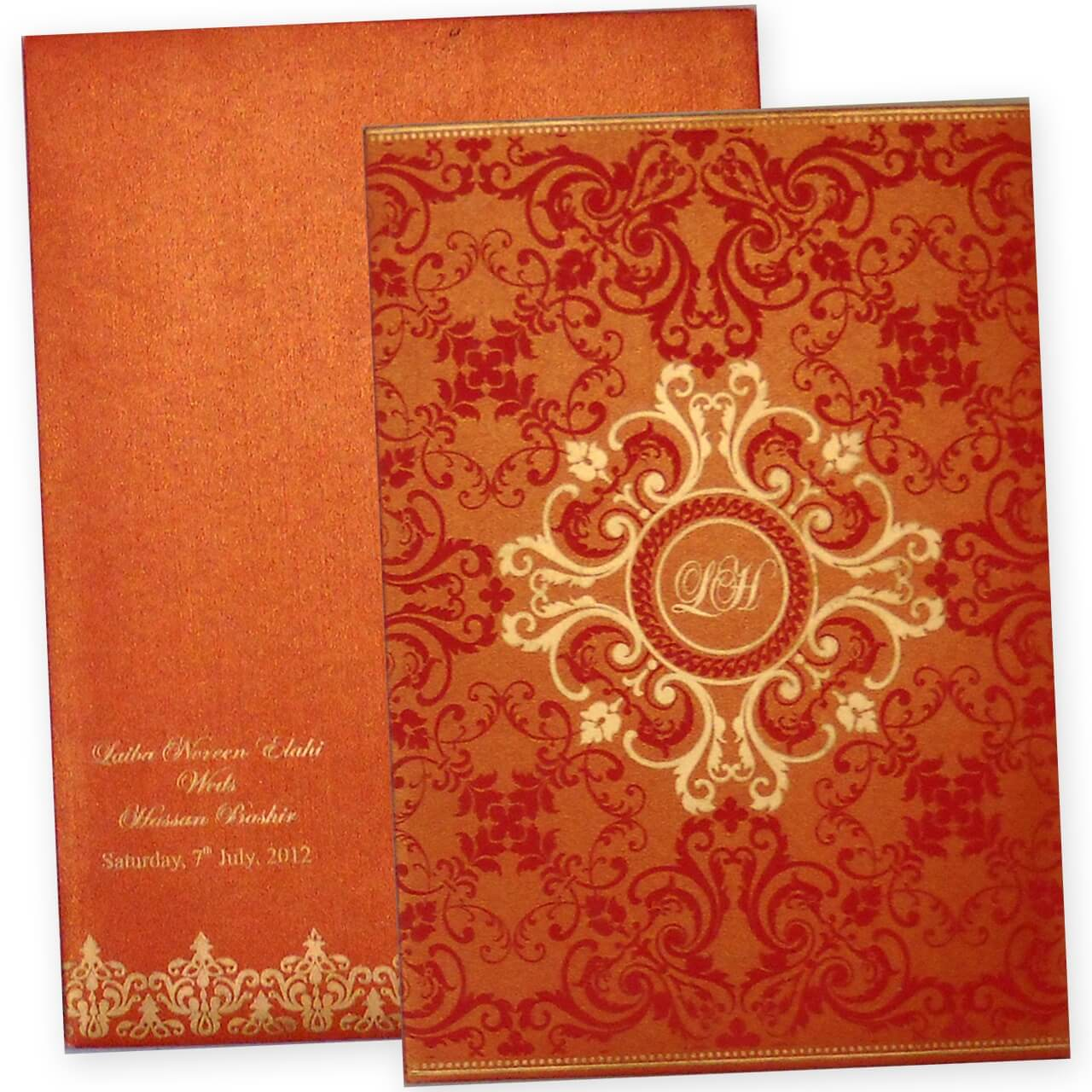 latest trendy indian wedding card design in orange color