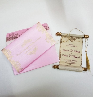 Scroll Wedding Cards T1-1015 Full View